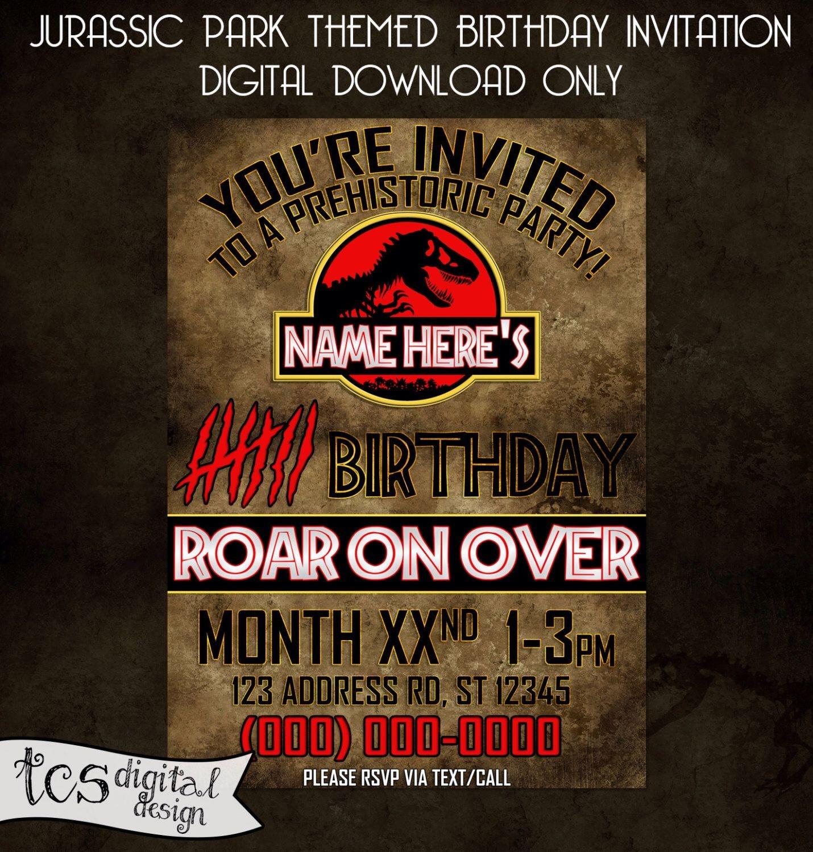Pinchristie Rogers On Birthday Invites | Personalized Birthday - Free Printable Jurassic Park Invitations