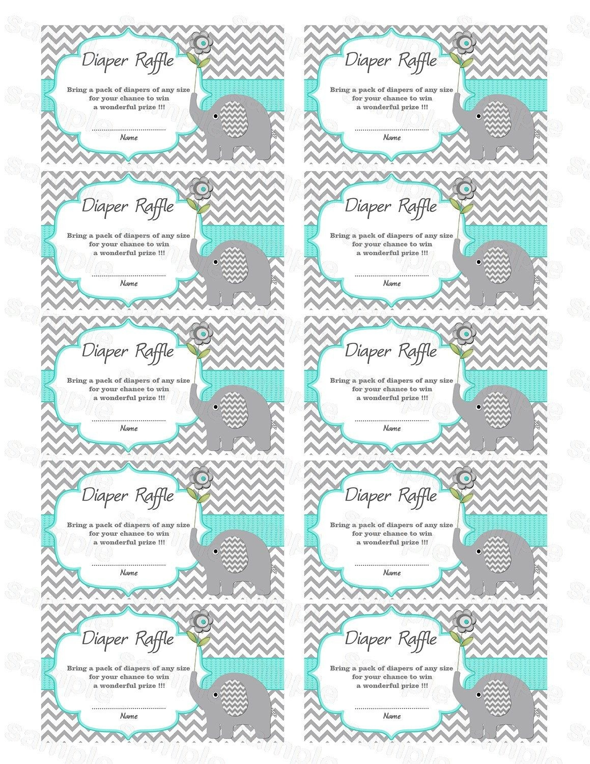 Pincindy Wallace On Diy | Baby Shower Diapers, Baby Shower - Free Printable Diaper Raffle Tickets Elephant