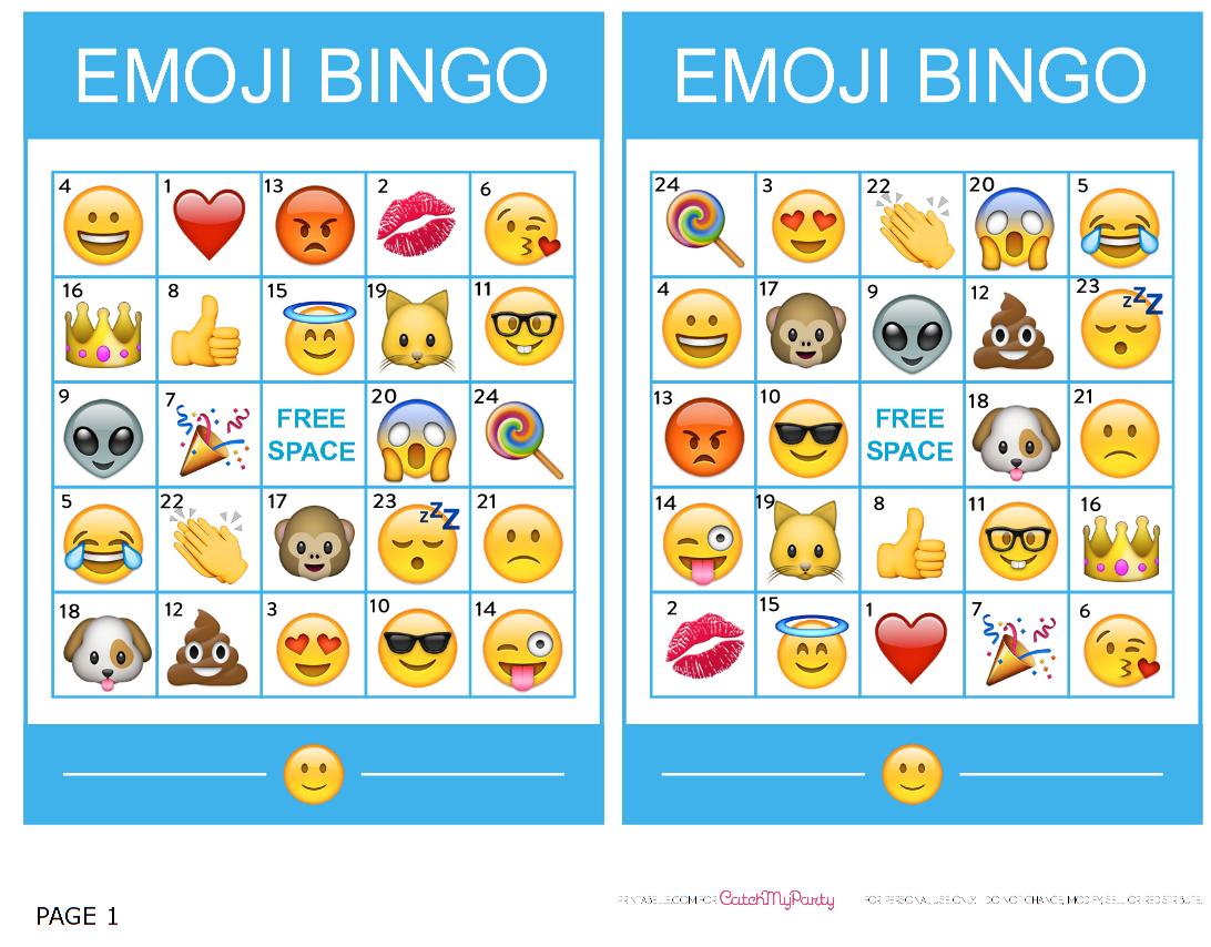 Pincrafty Annabelle On Emoji Printables   Emoji Bingo, Sleepover - Free Emoji Bingo Printable