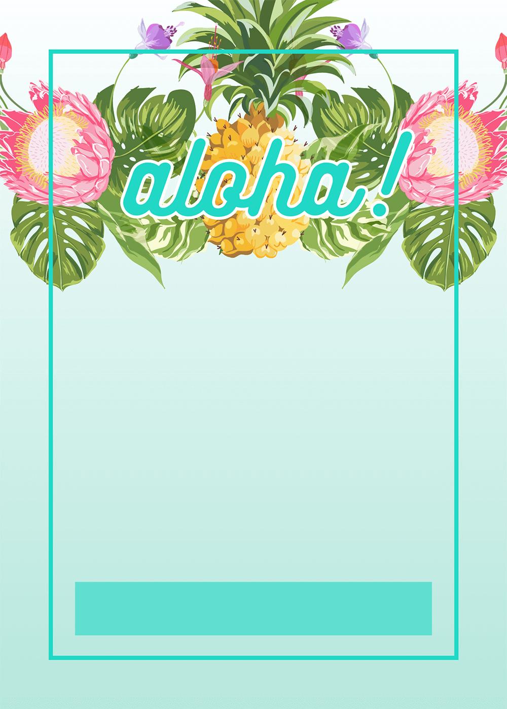 Pineapple Luau Perimeter - Free Printable Birthday Invitation - Hawaiian Party Invitations Free Printable
