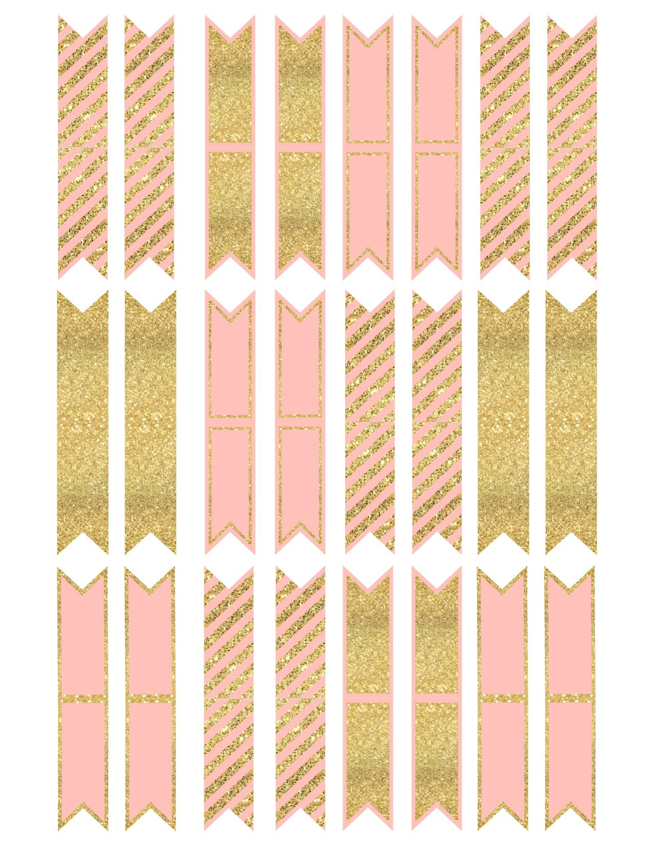 Pink And Gold Cupcake Topper Flags Or Bunting - Paper Trail Design - Baby Shower Bunting Free Printable
