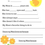 Pink Chickpea: Free Printable: Mother's Day Questionnaire   Free Printable Mother's Day Questionnaire