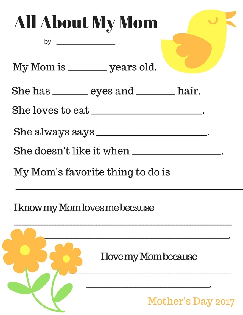 Pink Chickpea: Free Printable: Mother's Day Questionnaire - Free Printable Mother's Day Questionnaire
