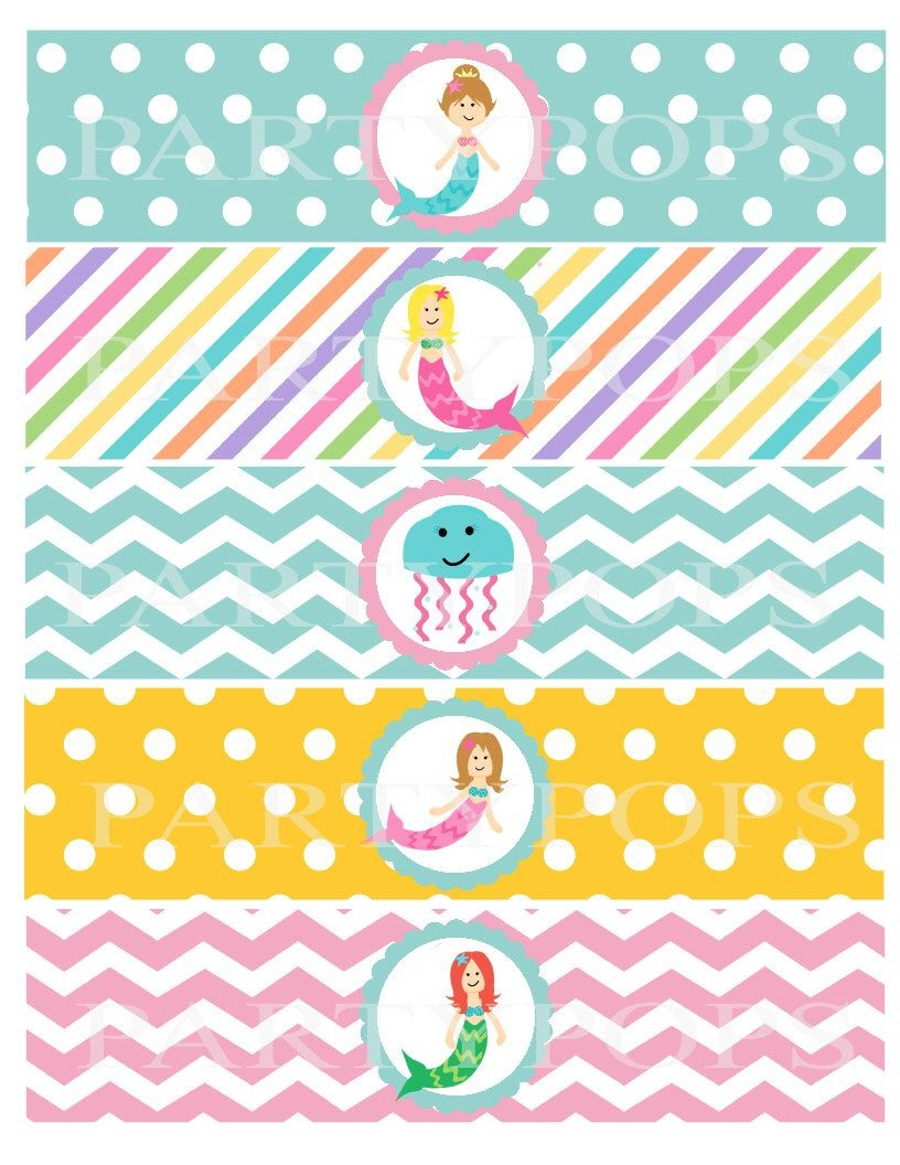 Pinkatheryn Patton On Everly 3Rd Bday In 2019   Mermaid Party - Free Printable Little Mermaid Water Bottle Labels