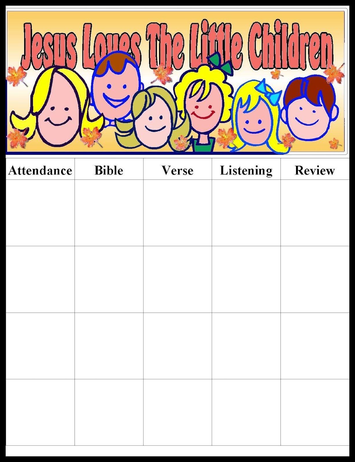 Pinmara Rivera On Sunday School Ideas   Sunday School Kids - Free Printable Sunday School Attendance Sheet