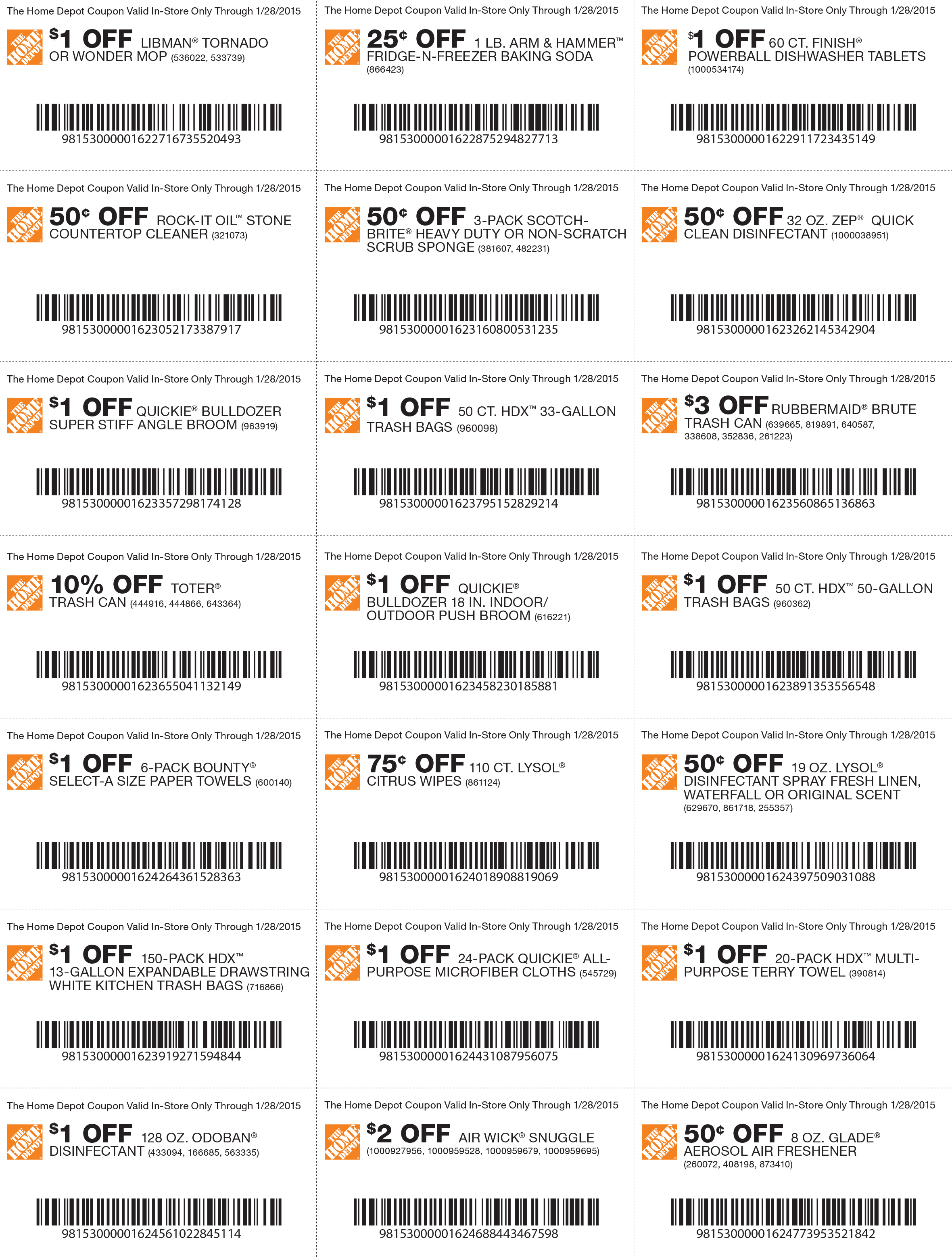 Pinned January 22Nd: Various Savings On Cleaning Products At #home - Free Printable Home Depot Coupons