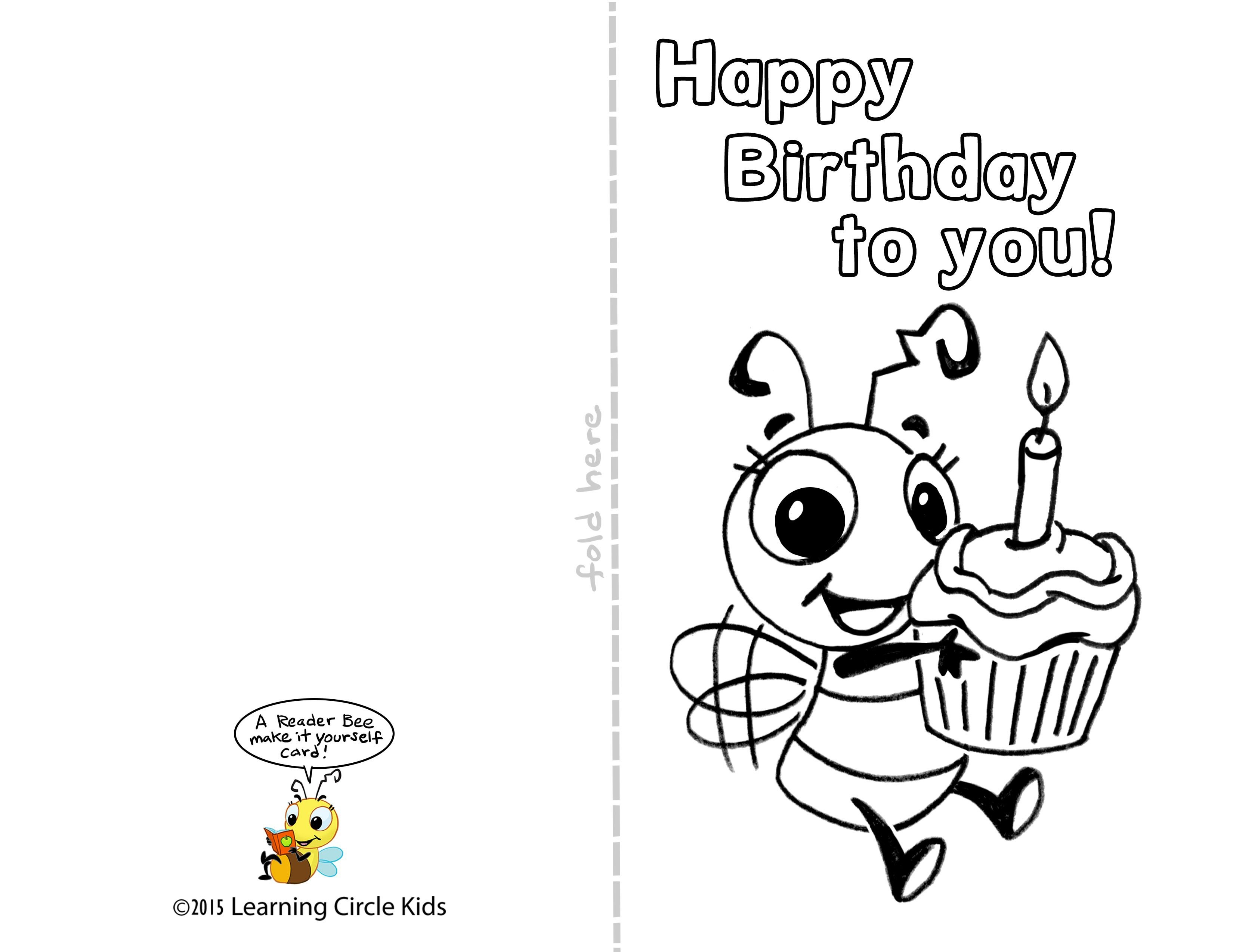 Pinreader Bee On Birthday Celebration - Bee Style   Free - Free Printable Birthday Cards For Dad