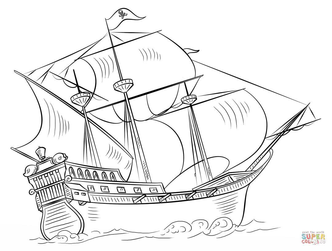 Pirate Ship Coloring Page | Free Printable Coloring Pages - Free Printable Boat Pictures