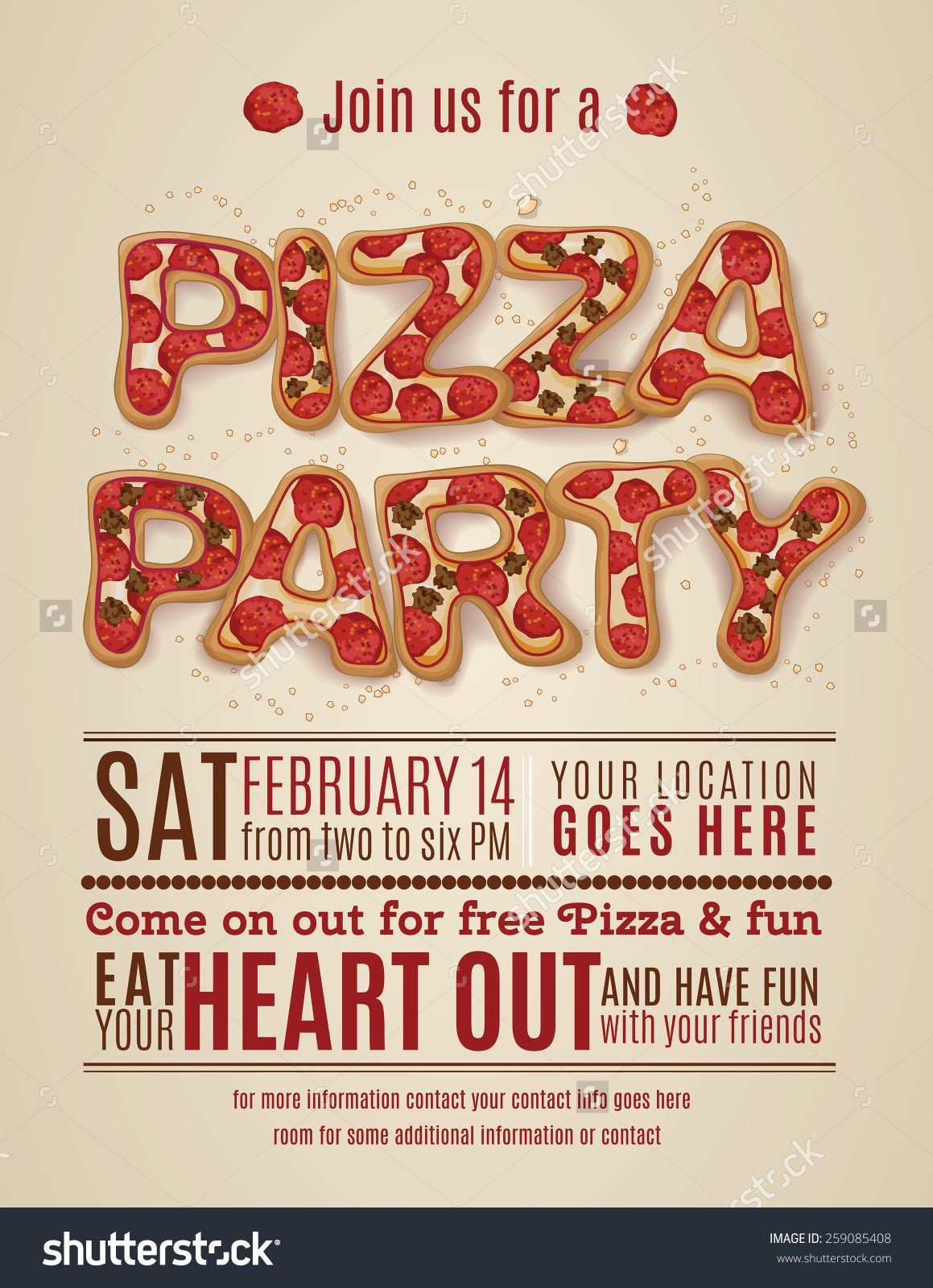 Pizza Party Invitation Template Free - Invitation Templates Design - Free Printable Birthday Party Flyers