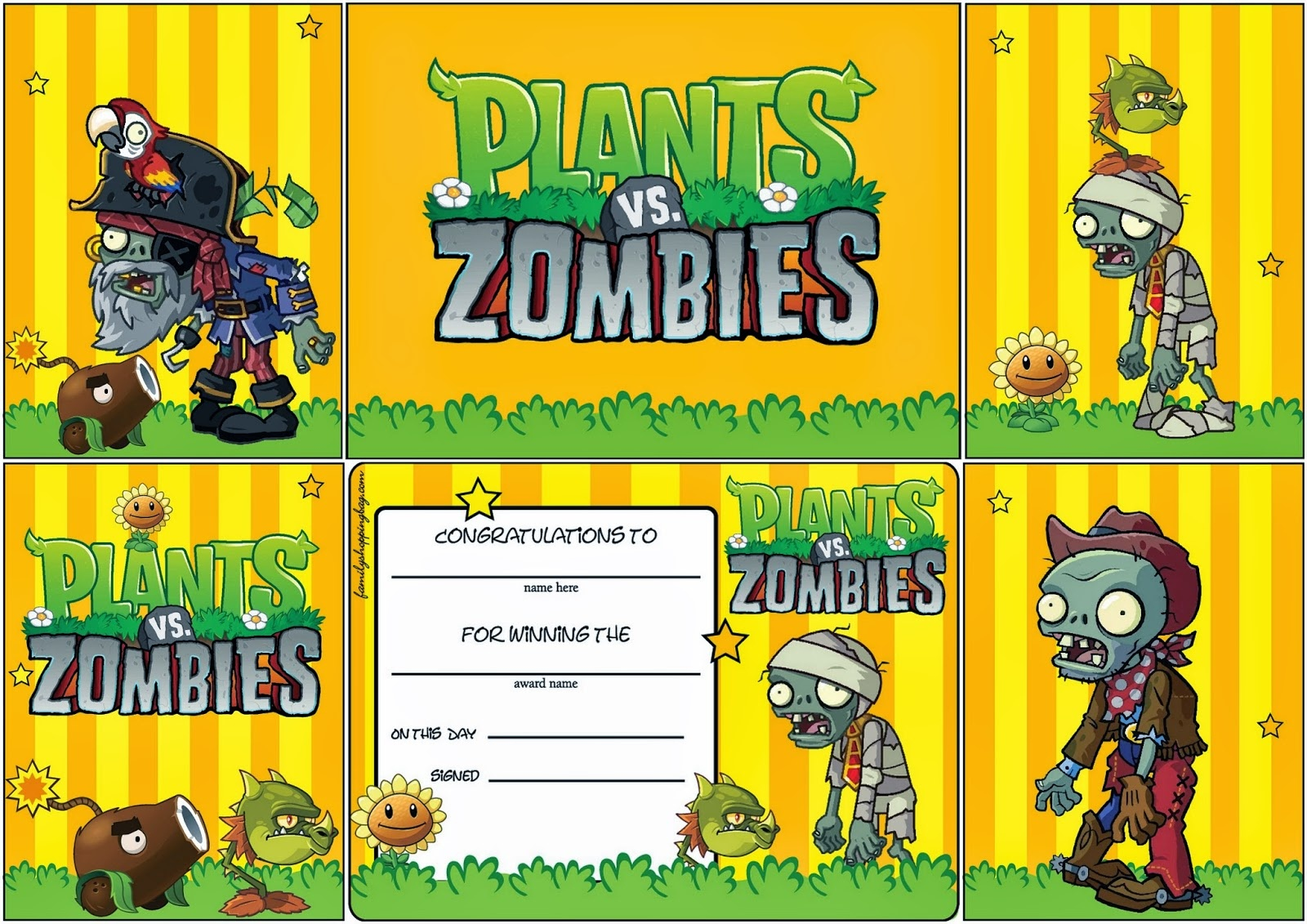 Plants Vs Zombies: Free Printable Cards Or Invitations. - Oh My - Plants Vs Zombies Free Printable Invitations