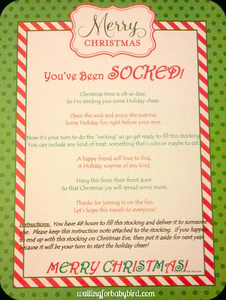 Poem You've Been Socked | The Holiday's | Christmas Gift Games - You Ve Been Socked Free Printable