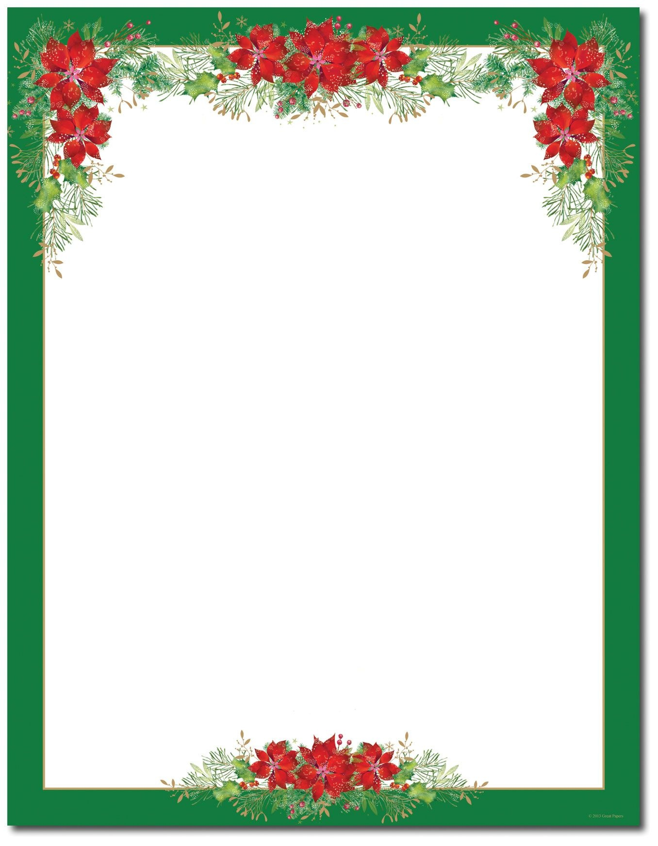 Poinsettia Valance Letterhead   Holiday Papers   Christmas Border - Free Printable Christmas Stationery Paper
