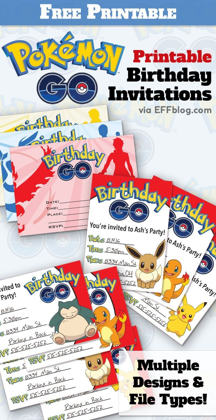 Pokémon Go: Birthday Go Free Printable Invitations | Pokemon Go - Free Printable Pokemon Birthday Invitations