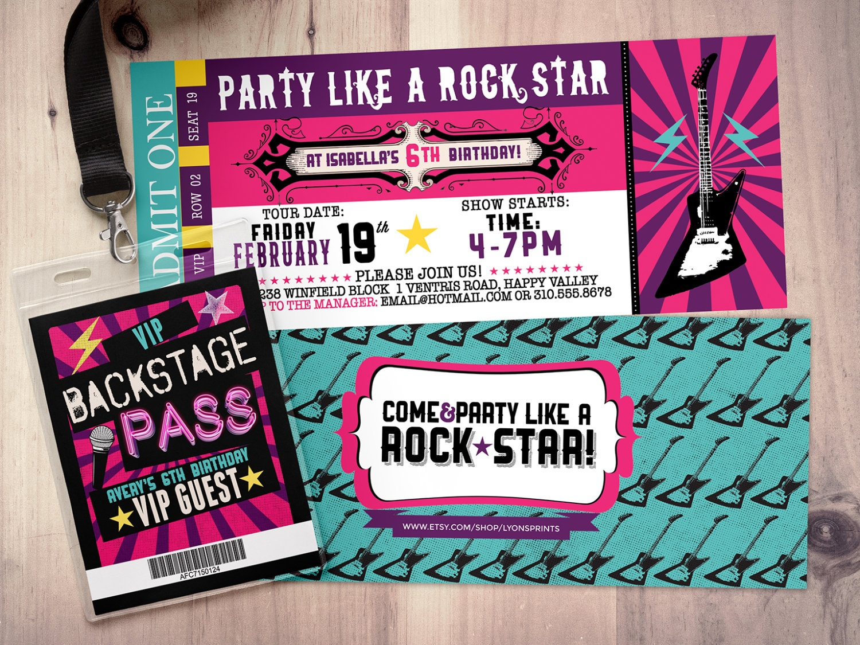 Pop Star, Rock Star Concert Ticket Birthday Party Invitation- Music - Free Printable Karaoke Party Invitations