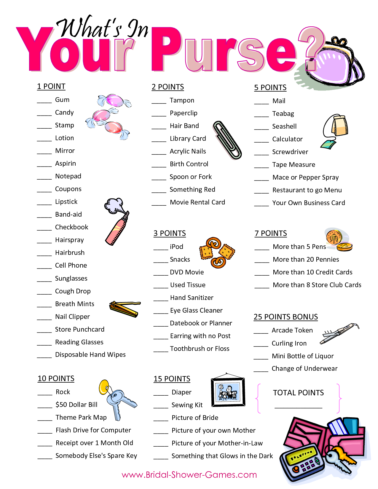 Popular Wedding Shower Games For Free   Business Ideas   Wedding - Free Printable Baby Shower Game What's In Your Purse