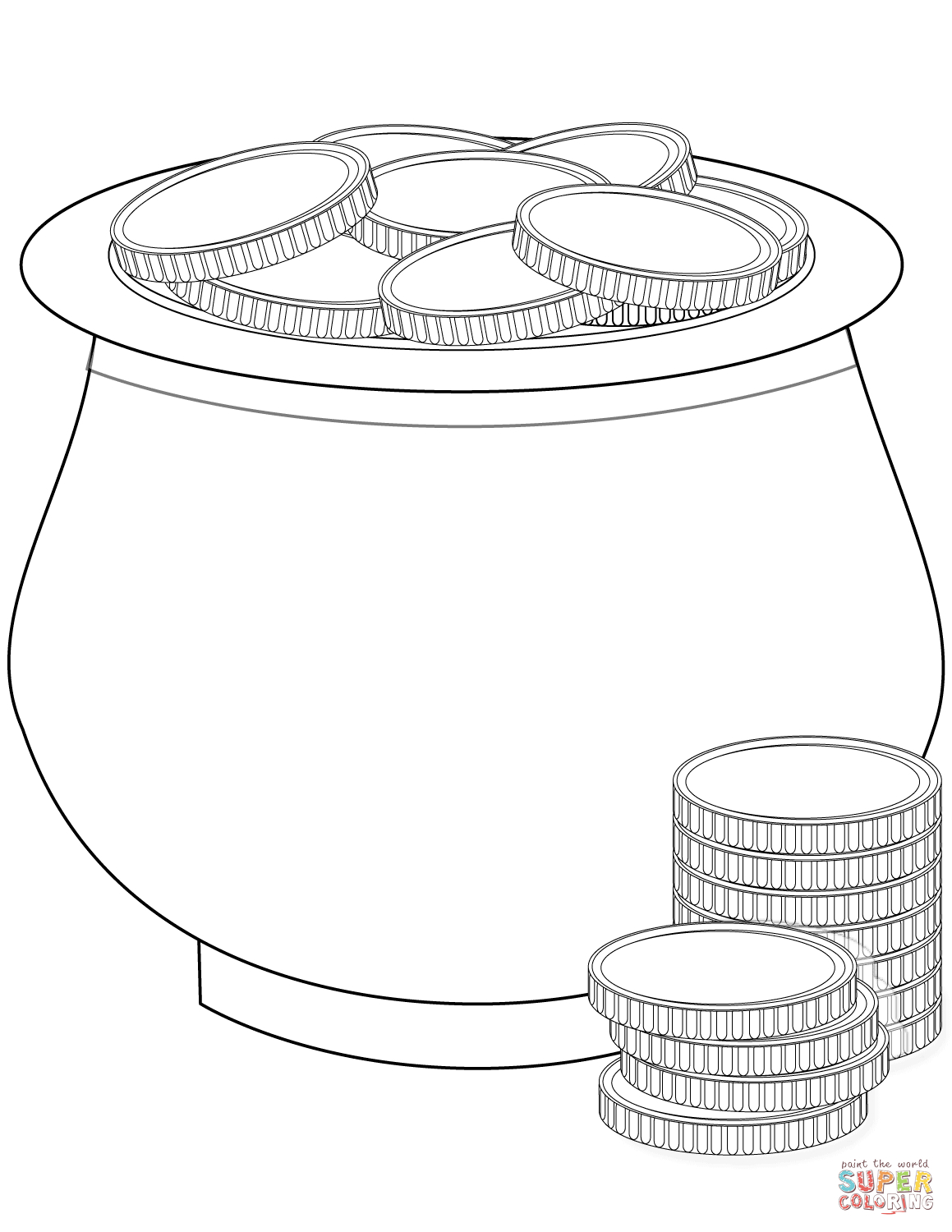 Pot Of Gold Coins Coloring Page   Free Printable Coloring Pages - Free Printable Pot Of Gold Coloring Pages