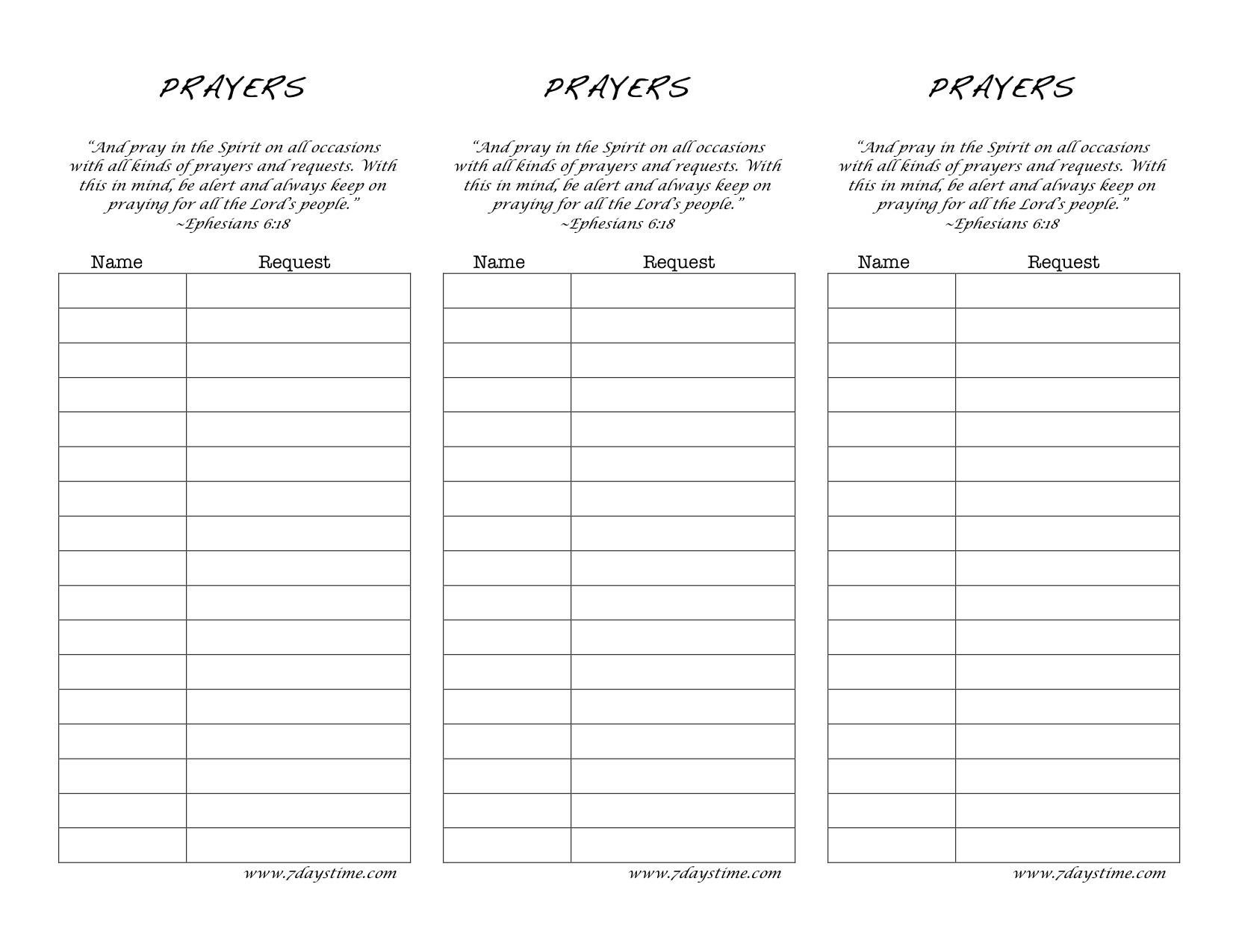 Prayer Card Template Elegant Printable Prayer Request Form Template - Free Printable Prayer List