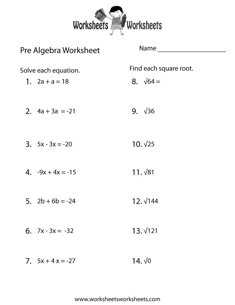 Pre-Algebra Practice Worksheet Printable | Lessons | Algebra - Free Printable Algebra Worksheets Grade 6