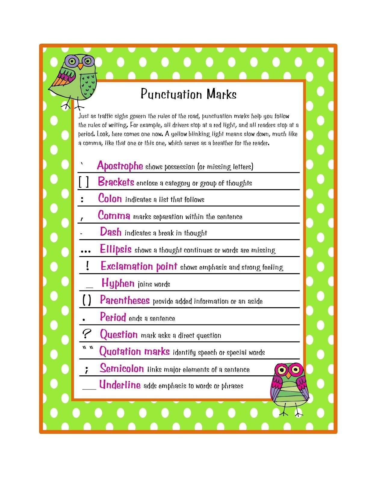 Preschool Printables: Free Parts Of Speech & Punctuation Marks - Punctuation Posters Printable Free