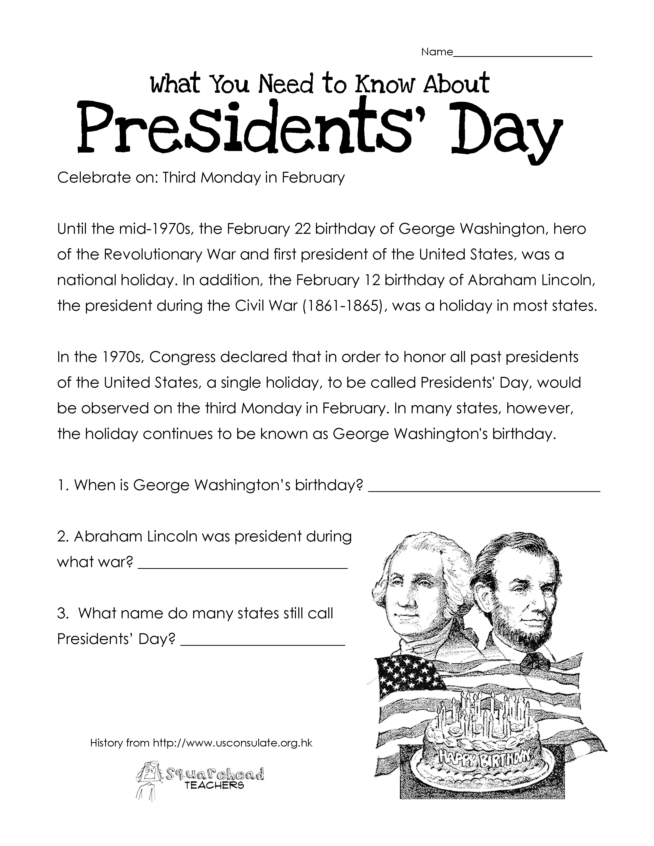 Presidents' Day (Free Worksheet) Updated | Squarehead Teachers - Free Printable Presidents Day Worksheets
