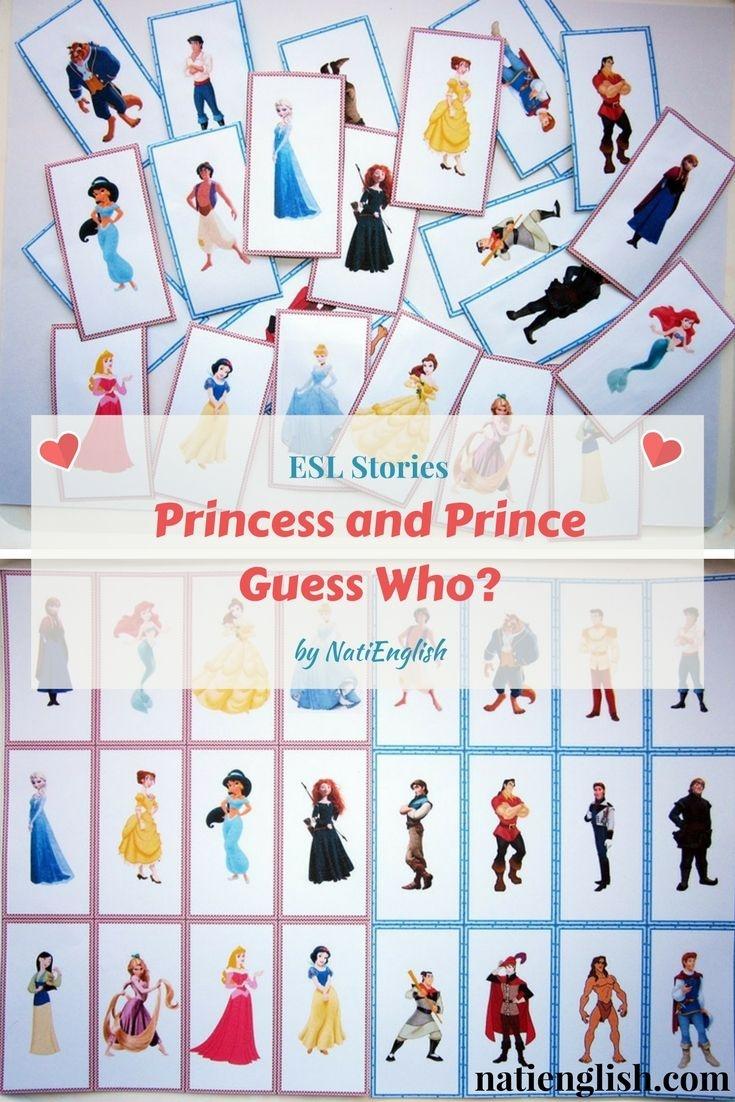 Princess And Prince Guess Who? Game Cards Free Printables   Esl - Free Printable Disney Stories