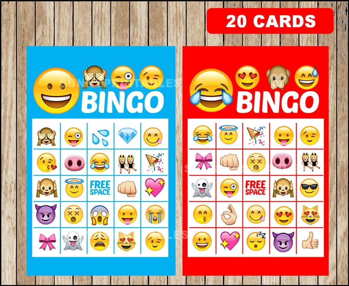 Printable 20 Emoji Bingo Cards Printable Emojis Bingo Game   Etsy - Free Emoji Bingo Printable