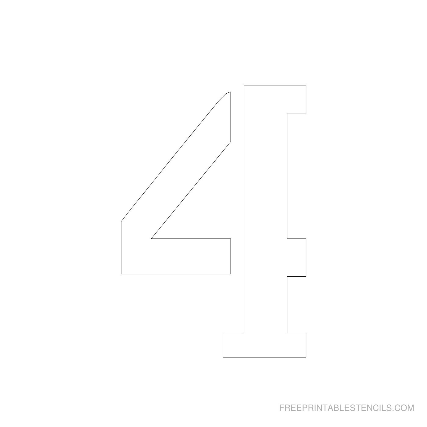 Printable 4 Inch Number Stencils 1-10   Free Printable Stencils - Free Printable 4 Inch Number Stencils