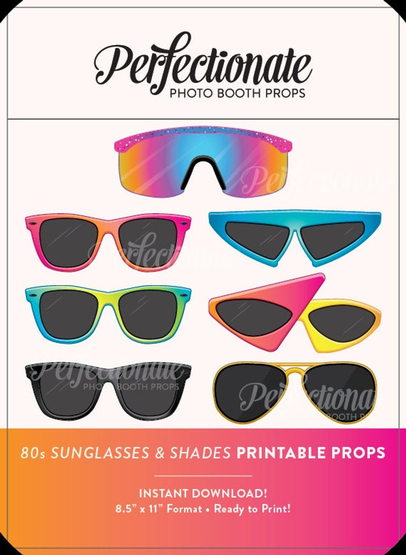 Printable 80S Sunglasses Photo Booth Prop Printable 80S | Etsy - 80S Photo Booth Props Printable Free