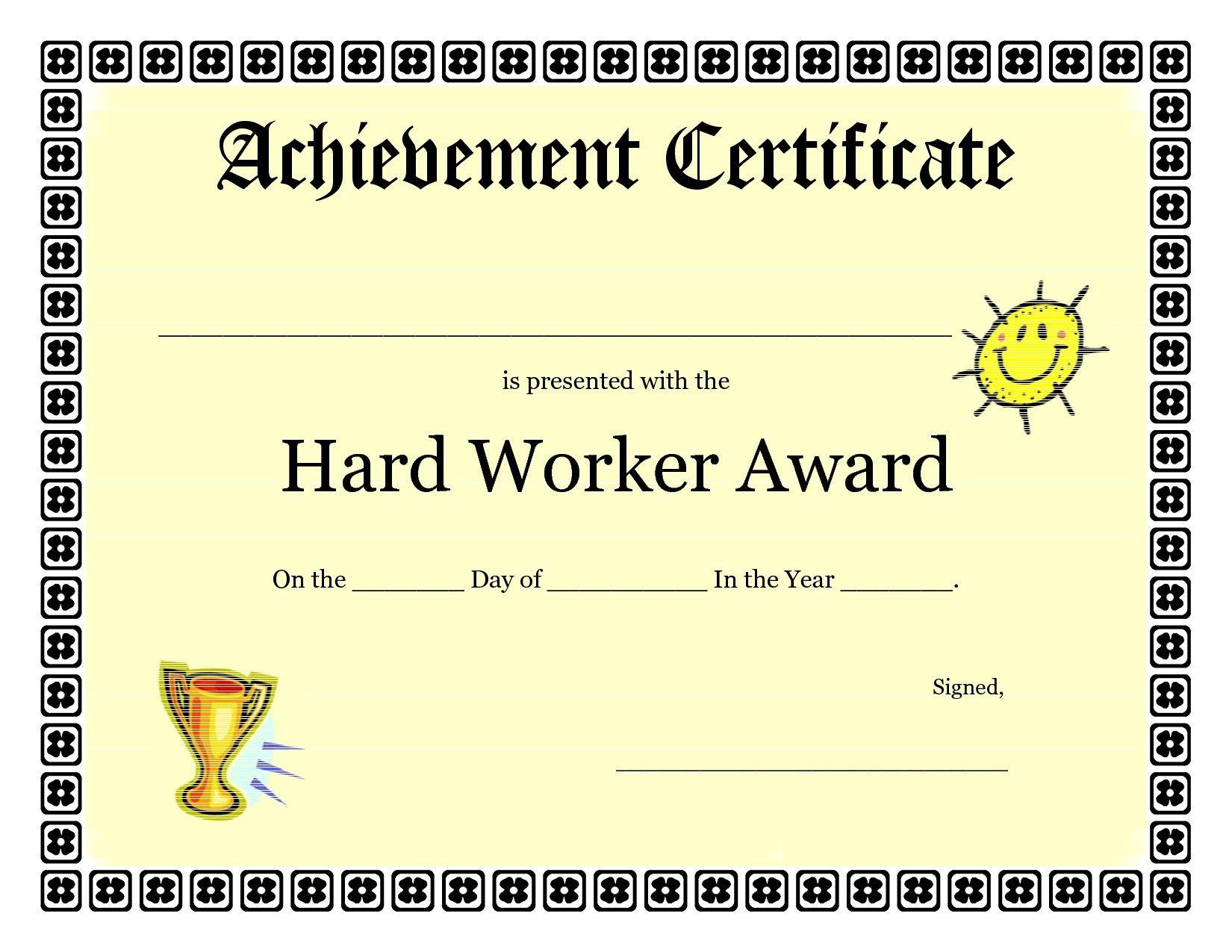 Printable Achievement Certificates Kids   Hard Worker Achievement - Free Printable Blank Certificates Of Achievement