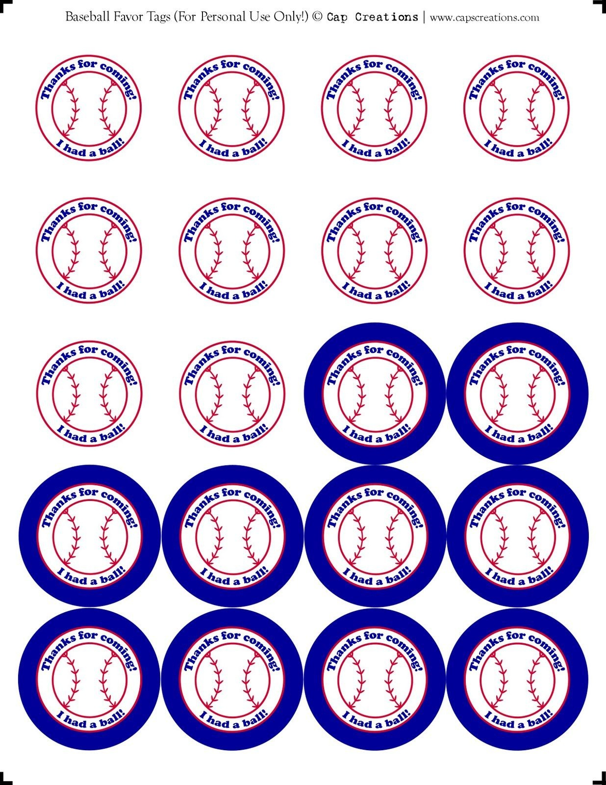 Printable Baseball Party Favor Thank You Tags | Baseball | Baseball - Free Printable Baseball Favor Tags