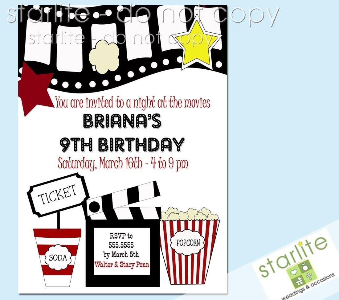 Printable Birthday Party Invitations Movie Theme | Movie Party - Movie Birthday Party Invitations Free Printable