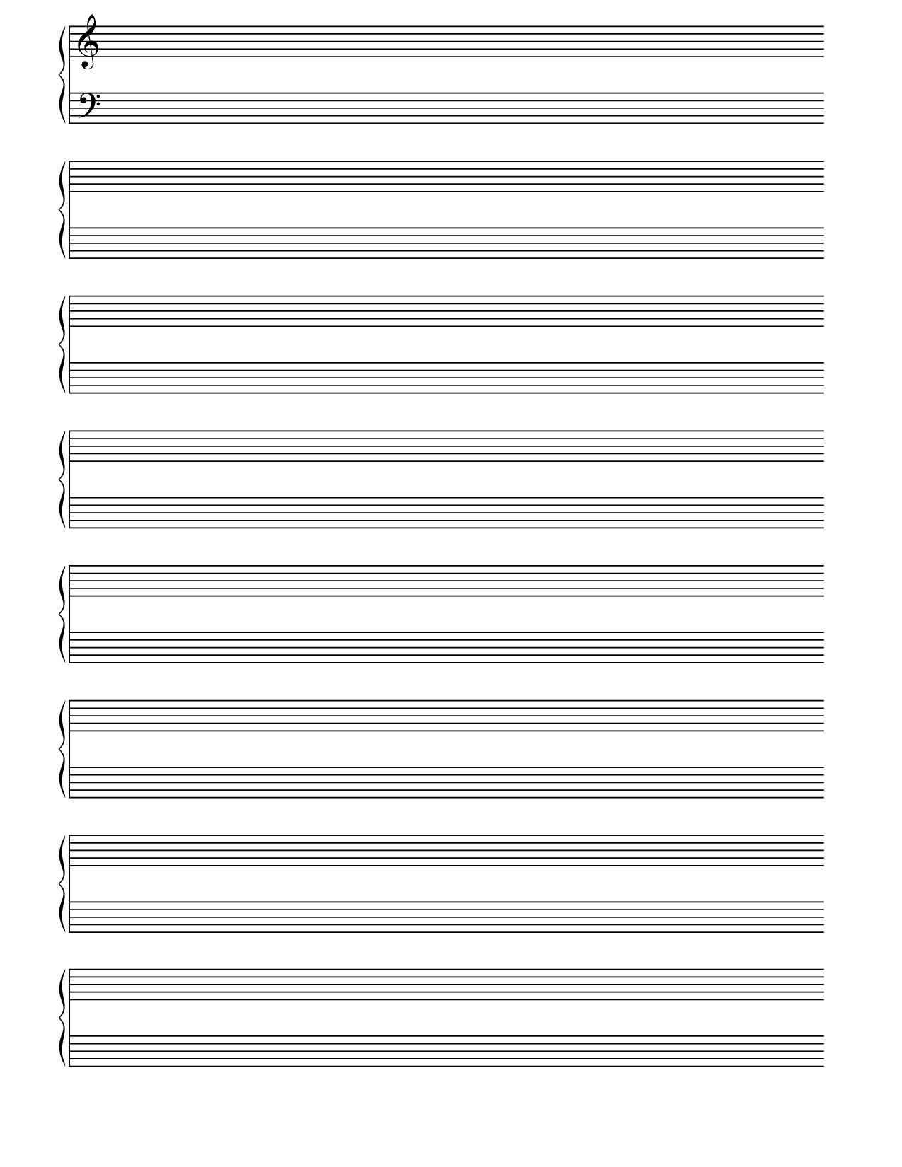 Printable Blank Piano Sheet Music Paper | Print In 2019 | Blank - Free Printable Staff Paper Blank Sheet Music Net