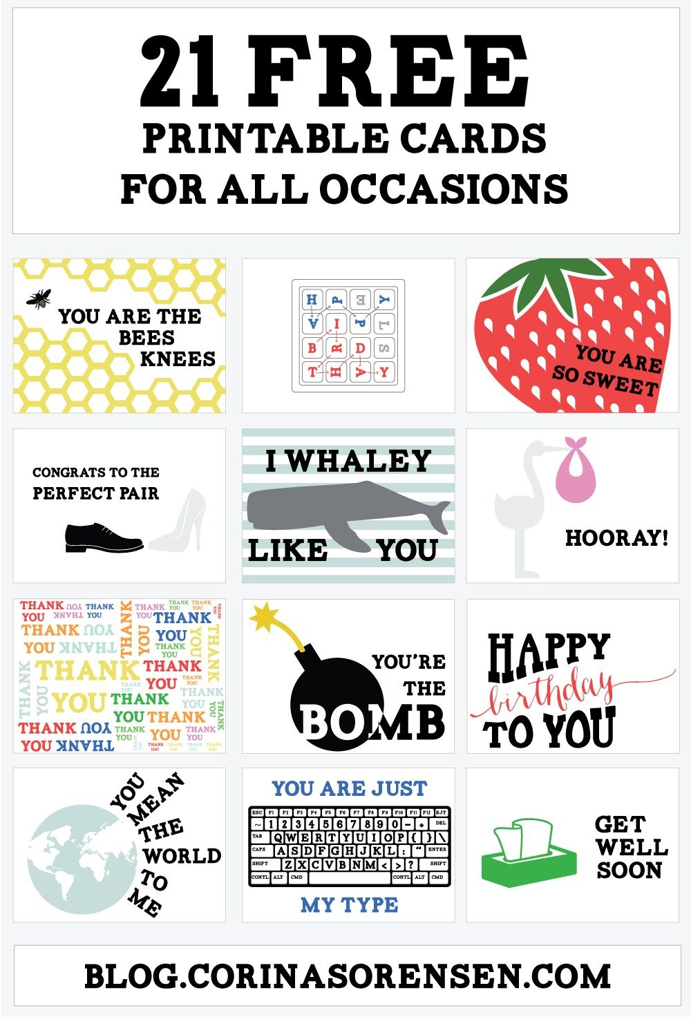 Printable Cards For All Occasions (Corina's Corner) | Art/prints - Free Printable Cards For All Occasions