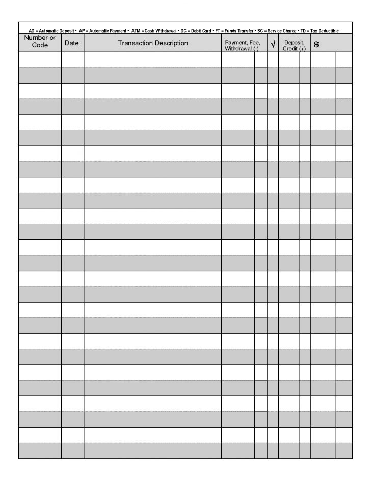 Free Printable Transaction Register