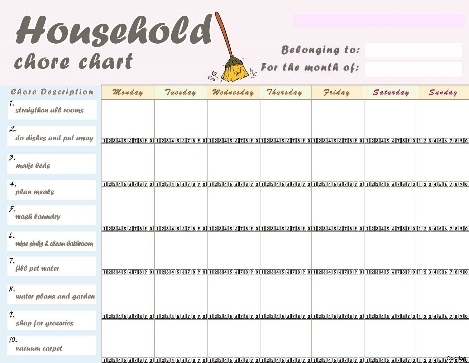 Printable Chore Chart For Adults - Tutlin.psstech.co - Chore Chart For Adults Printable Free