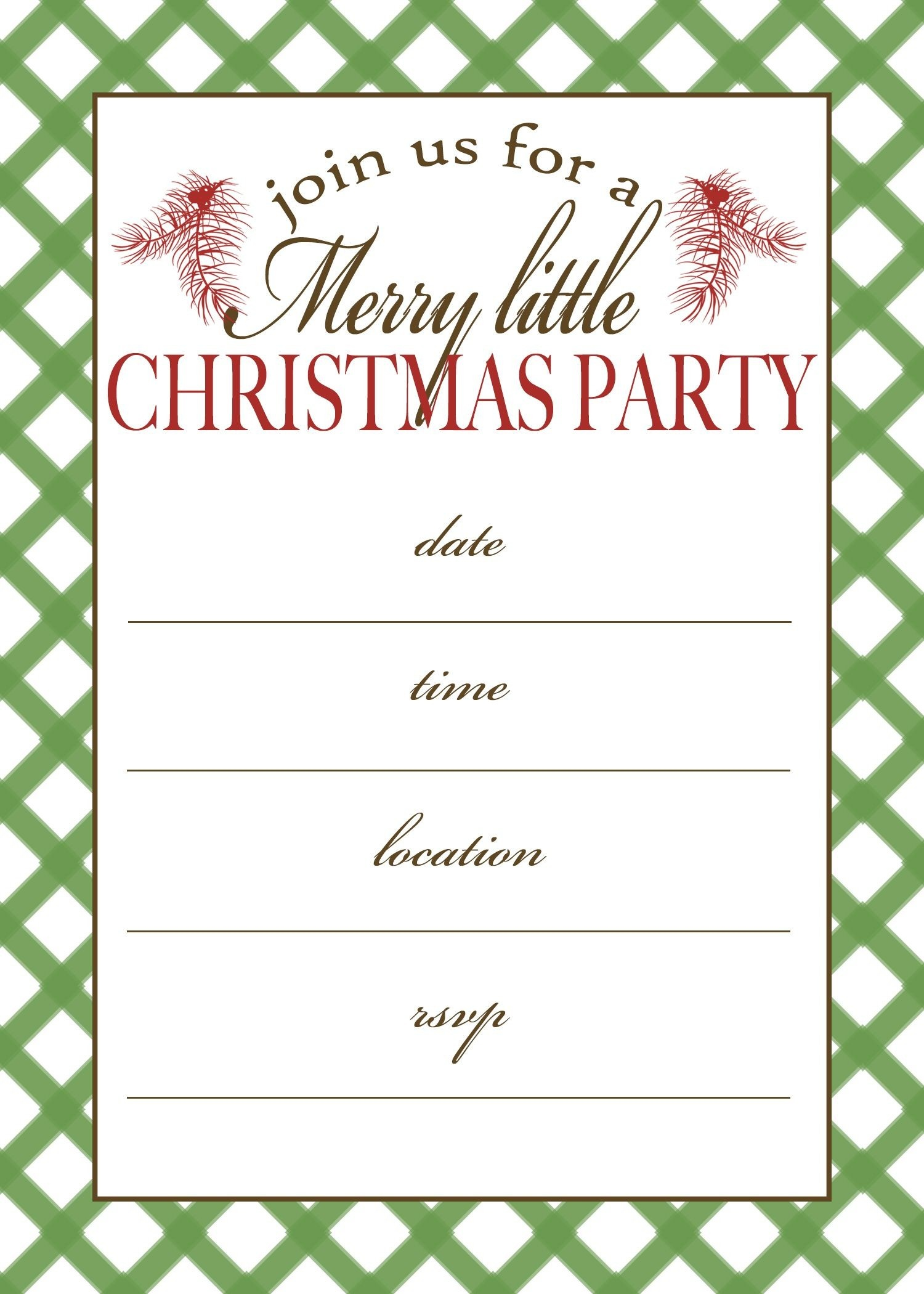 Printable Christmas Party Invitations Free Templates - Loveandrespect - Free Printable Personalized Christmas Invitations