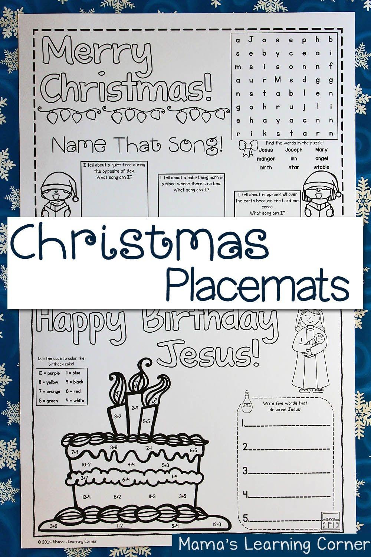 Printable Christmas Placemats   Ultimate Homeschool Board - Free Printable Christmas Placemats For Adults