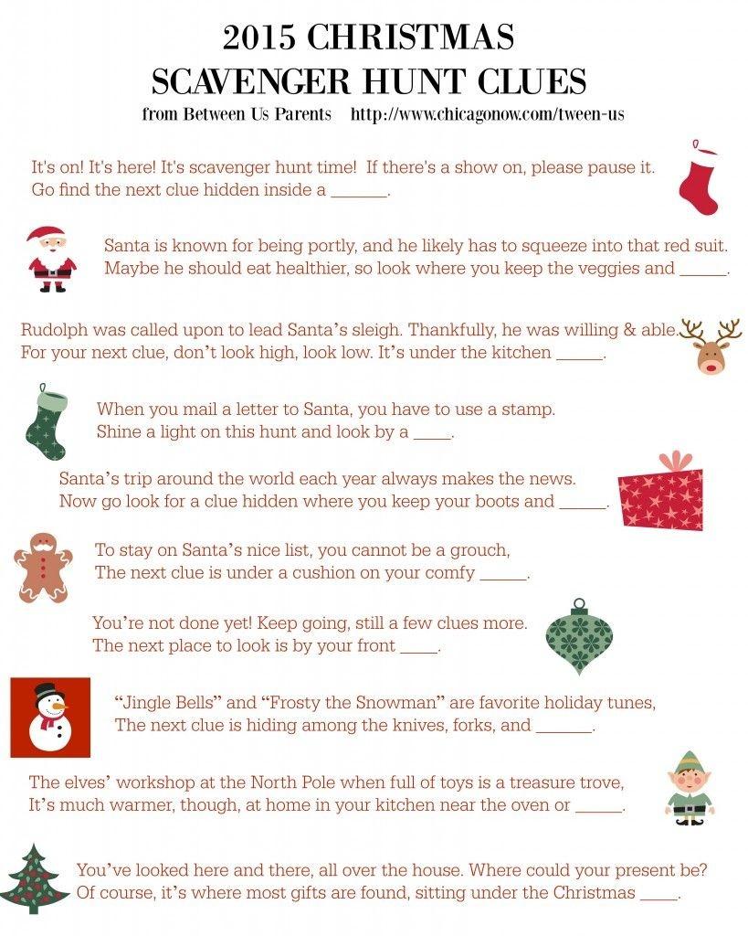 Printable Christmas Scavenger Hunt Clues, 2015 Edition | Christmas - Free Printable Christmas Treasure Hunt Clues