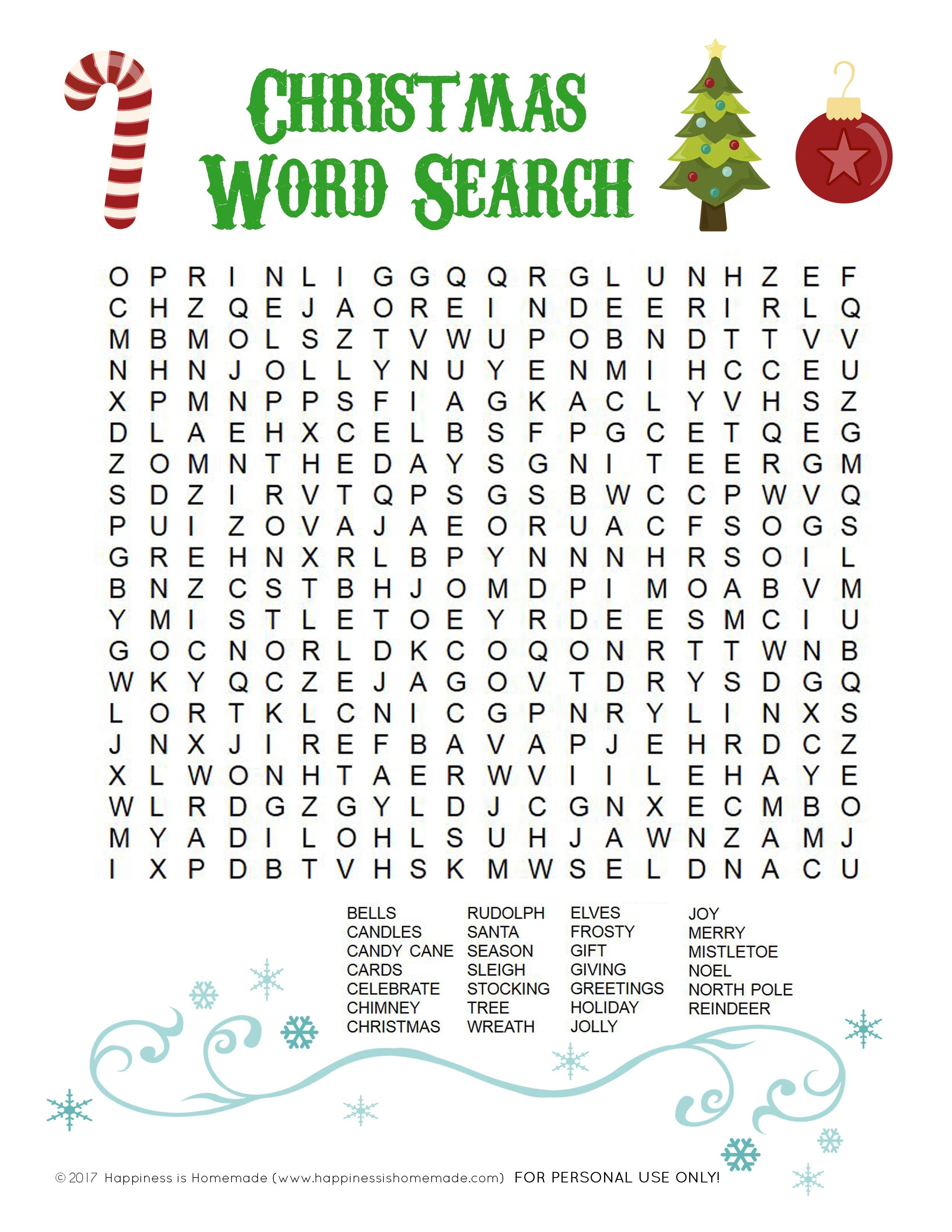 Printable Christmas Word Search For Kids & Adults - Happiness Is - Free Printable Christmas Word Search