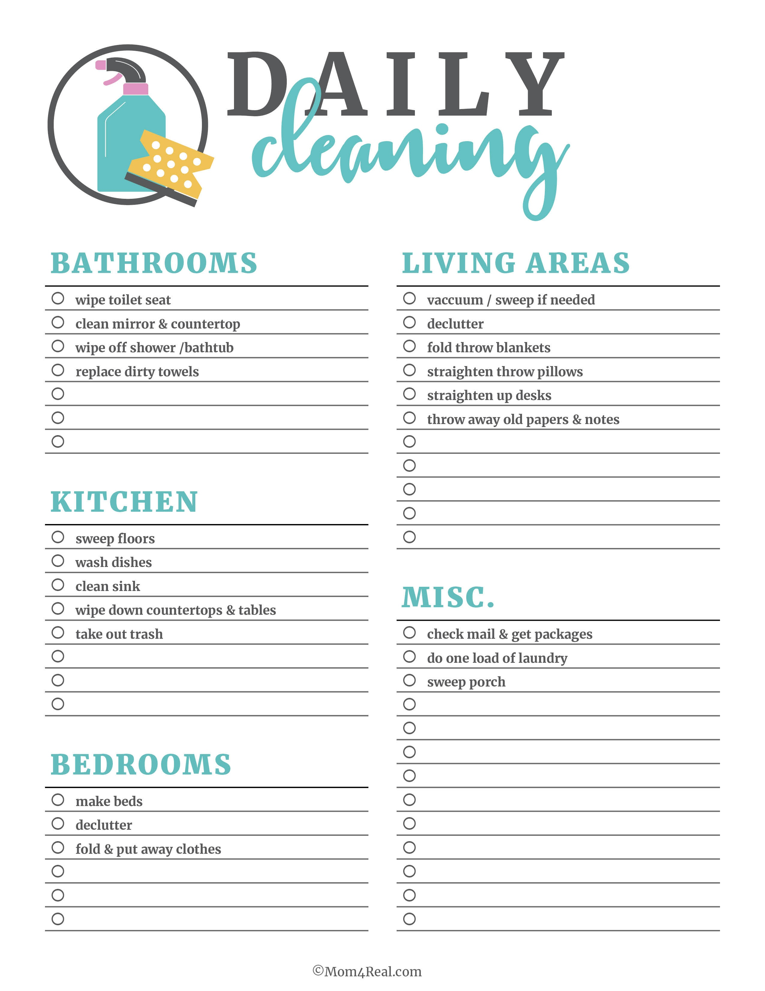 Printable Cleaning Checklists For Daily, Weekly And Monthly Cleaning - Free Printable Cleaning Schedule