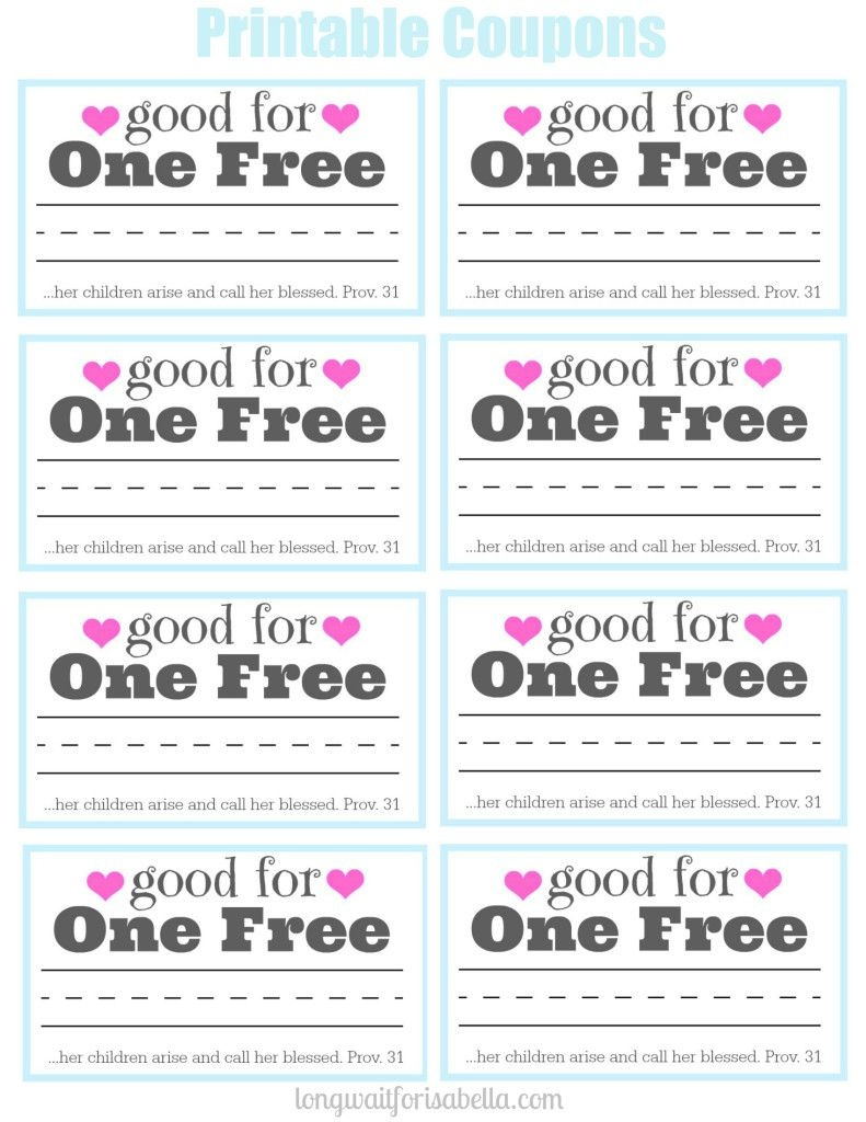 Printable Coupon Book For Mom | Long Wait For Isabella Blog | Books - Free Printable Homemade Coupon Book