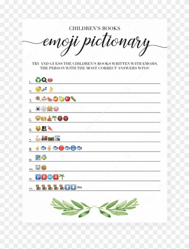 Emoji Bridal Shower Game Free Printable