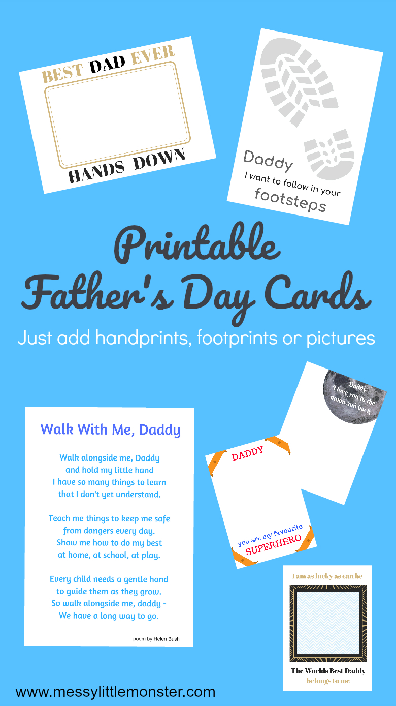 Printable Father's Day Cards - Just Add Handprints And Footprints - Free Printable Fathers Day Poems For Preschoolers