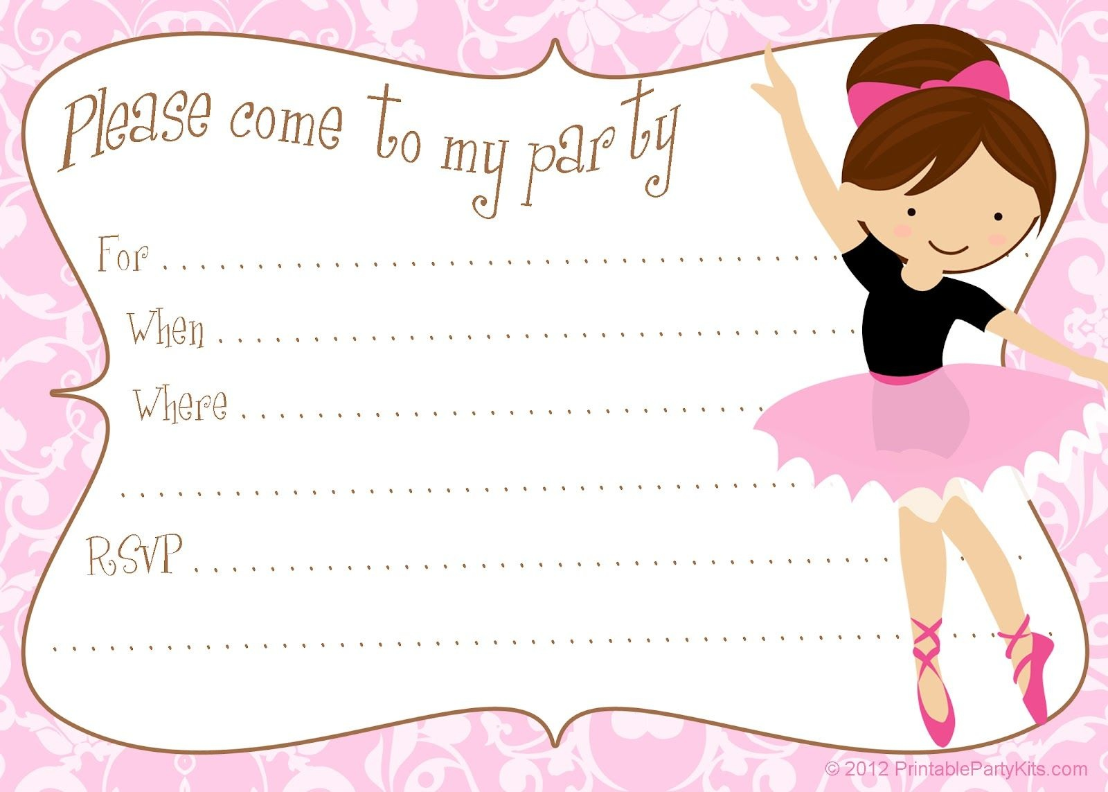 Printable Free Diy Ballerina Party Invitations | Party Printables In - Free Printable Ballerina Birthday Invitations