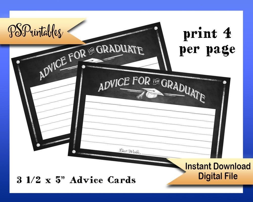 Printable Graduation Advice Cards Advice For Graduate Cards   Etsy - Free Printable Graduation Advice Cards