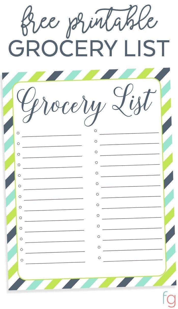 Printable Grocery List Template - Printable Grocery List Free - Free Printable Grocery List