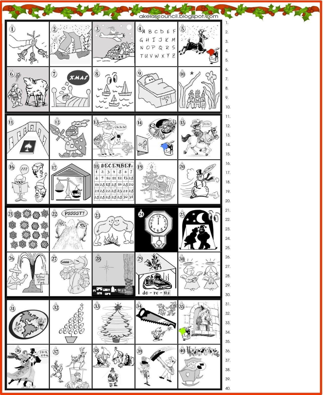 Printable * Guess The Christmas Songs Or Carols Word Puzzle - Free Printable Christmas Puzzle Games
