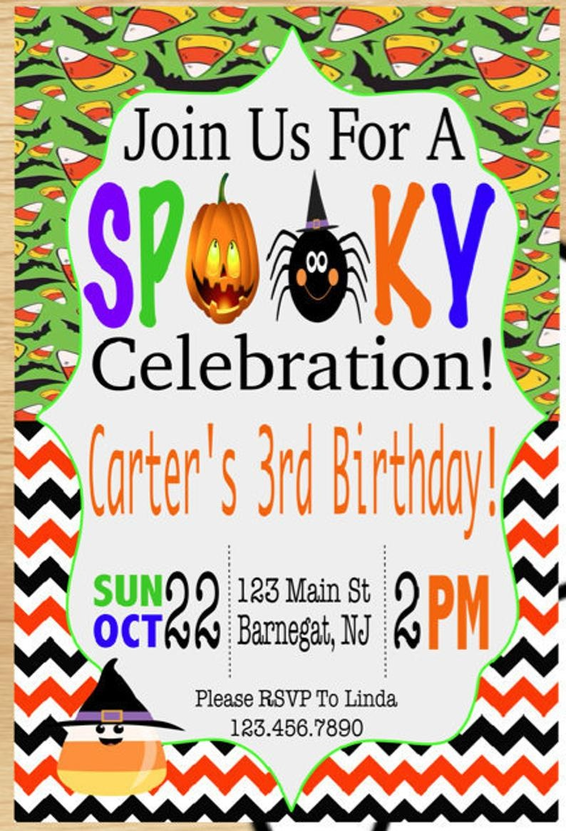 Printable Halloween Party Invitations Halloween Birthday | Etsy - Free Printable Halloween Birthday Party Invitations