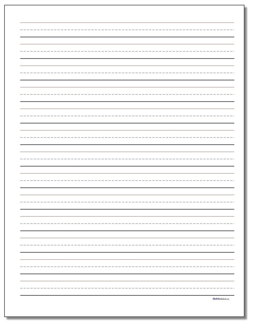 Printable Handwriting Paper - Elementary Lined Paper Printable Free