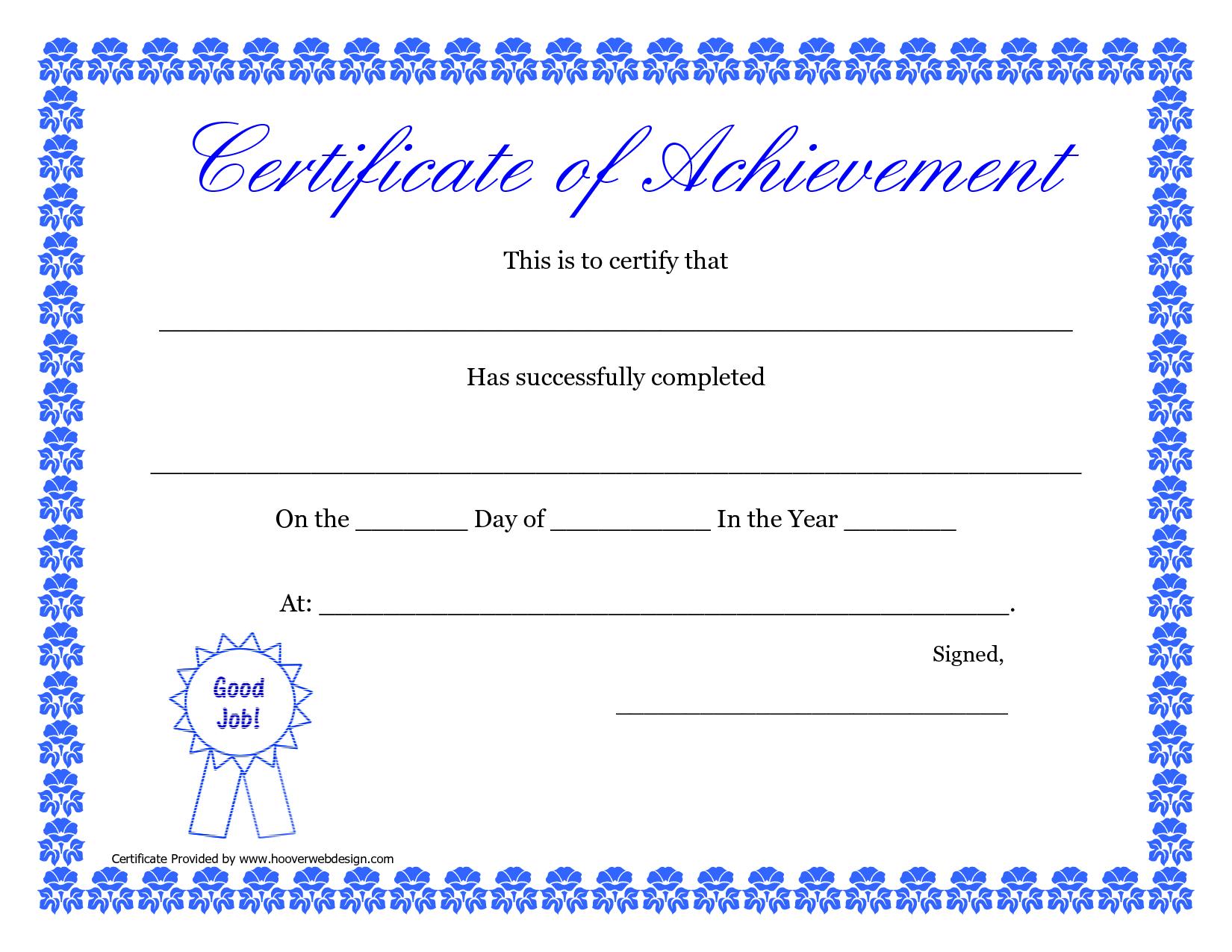 Printable Hard Work Certificates Kids   Printable Certificate Of - Free Printable Blank Certificates Of Achievement